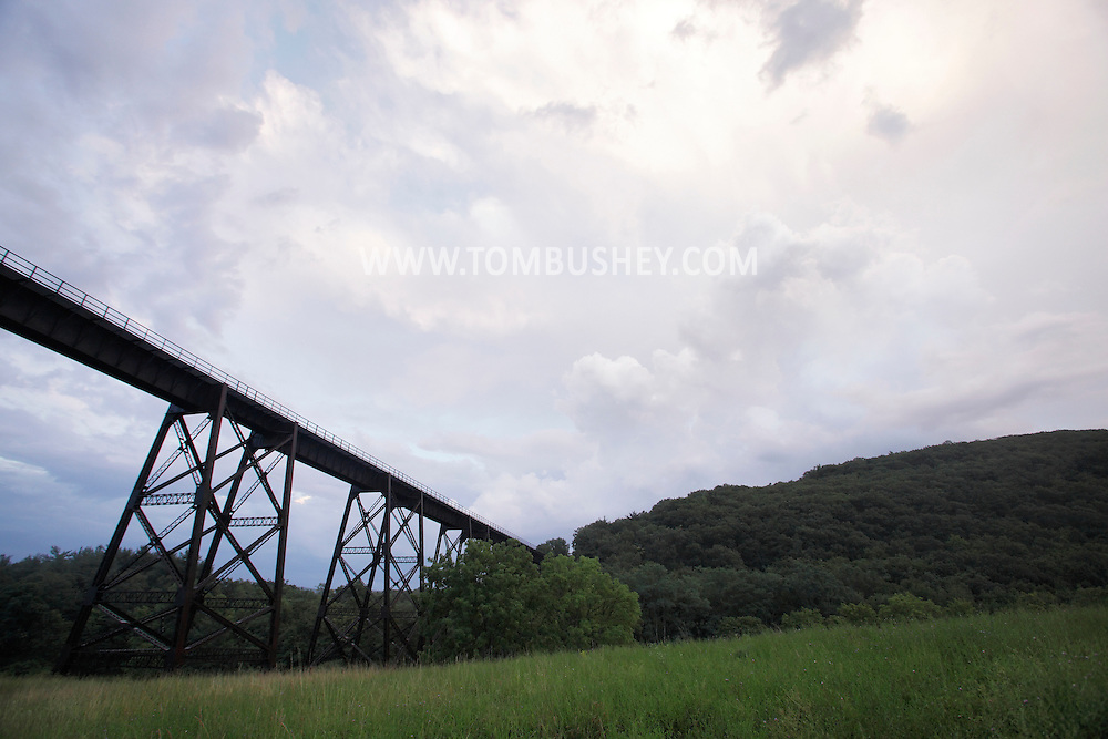 Salisbury Mills, New York -  Storm clouds after a rain storm by the Moodna Viaduct railroad trestle on July 21, 2010.