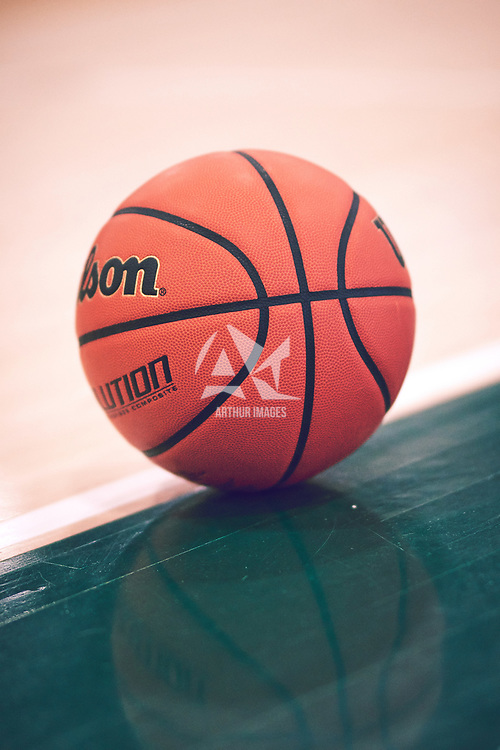 A basketball during the Men's Basketball Home Game on Sat Feb 02 at Centre for Kinesiology,Health and Sport. Credit: Arthur Ward/Arthur Images