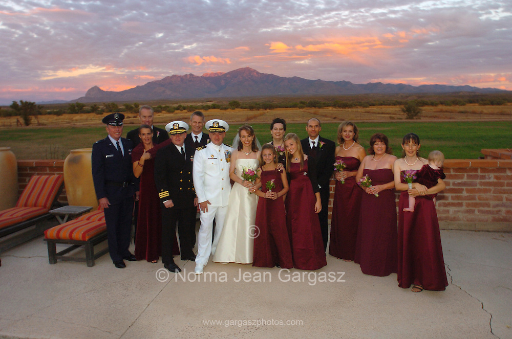 Arizona Congresswoman, Gabrielle Giffords, and her husband space shuttle commander, Mark Kelly, at their wedding in Amado, Arizona, USA, on November 10, 2007. (Mark Kelly's daughters stand to the right of Ms. Giffords).