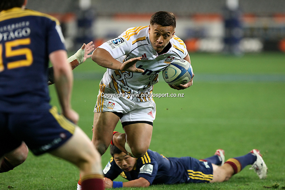 Tim Nanai-Williams of the Chiefs trybound in the Super 15 rugby match, Highlanders v Chiefs, Forsyth Barr Stadium, Dunedin, New Zealand, Friday, June 27, 2014. Photo: Dianne Manson / www.photosport.co.nz