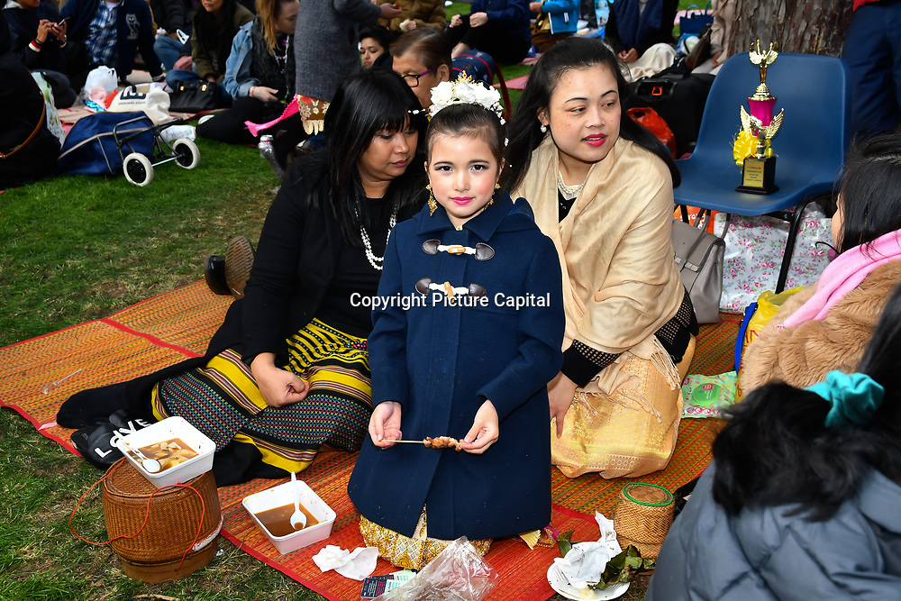 London, UK. 14th April, 2019. Celebrates Thai New Year (Songkran) at Buddhapadipa Temple in Wimbledon known as Songkran Water Festival, London, UK.
