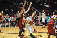 "Ole Miss' Danielle McCray (22) vs. Arkansas' Melissa Wolff (33) at the C.M. ""Tad"" Smith Coliseum in Oxford, Miss. on Friday, January 2, 2015. (AP Photo/Oxford Eagle, Bruce Newman)"