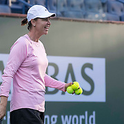 March 7, 2015, Indian Wells, California:<br /> Lindsay Davenport smiles during a practice session with Madison Keys at the Indian Wells Tennis Garden in Indian Wells, California Saturday, March 7, 2015.<br /> (Photo by Billie Weiss/BNP Paribas Open)
