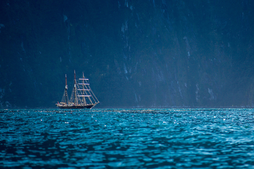 "Sailing vessel ""Spirit of New Zealand"" in Milford Sound"
