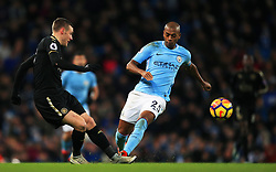 Jamie Vardy of Leicester City and Fernandinho of Manchester City - Mandatory by-line: Matt McNulty/JMP - 10/02/2018 - FOOTBALL - Etihad Stadium - Manchester, England - Manchester City v Leicester City - Premier League