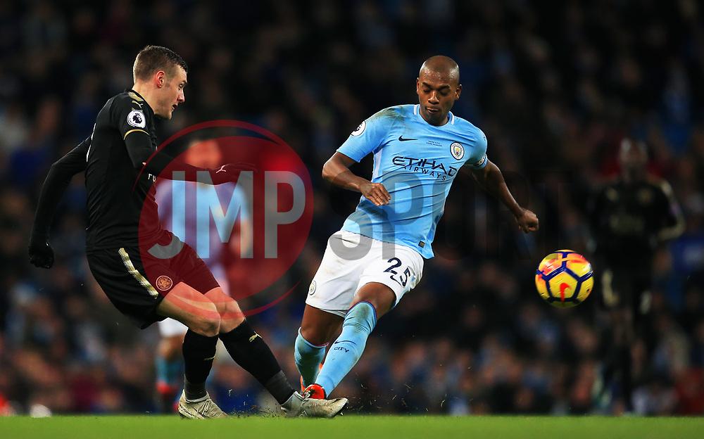 Jamie Vardy of Leicester City and Fernandinho of Manchester City - Mandatory by-line: Matt McNulty/JMP - 10/02/2018 - FOOTBALL - Etihad Stadium - Manchester, England - Manchester City v Leicester City - Premier League