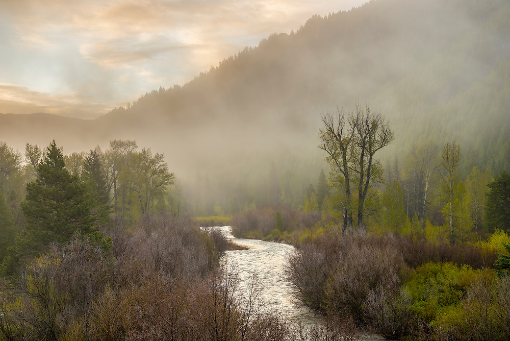 Lifting spring storm at sunrise on the Wood River just north of Sun Valley Idaho