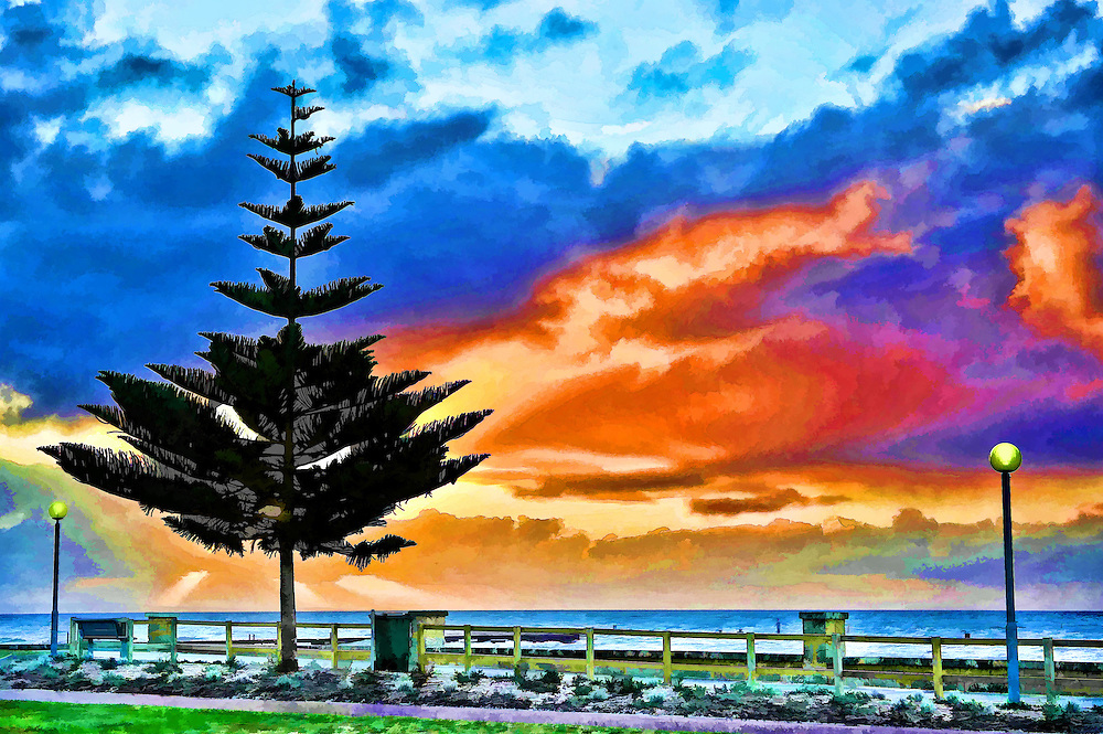 Digiital Painting of Sunset and Tree