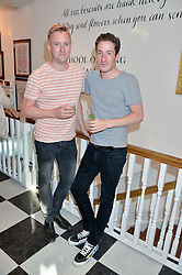 Left to right, DEAN PIPER and BLAISE PATRICK at a party to launch Biscuiteers Fashion Biscuit Collection inspired by Alice Naylor-Leyland's wardrobe held at Biscuiteers, 194 Kensington Park Road, London W11 on 23rd June 2015.