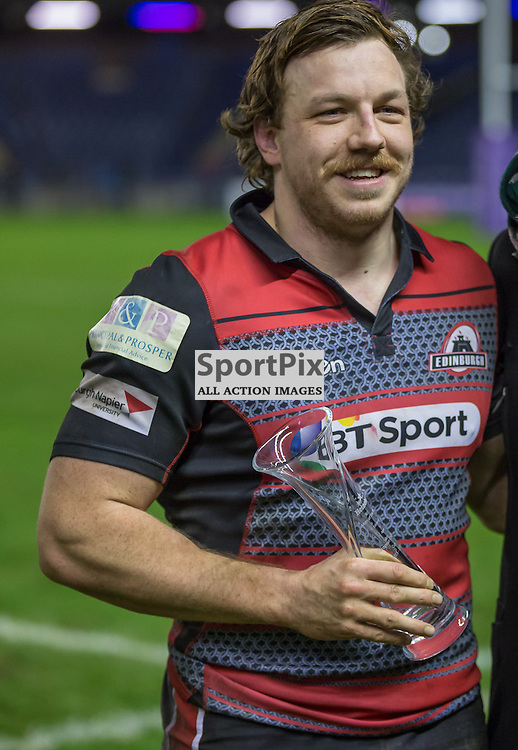 MAn of the Match Edinburgh #7 Hamish Watson.  Edinburgh Rugby v Agen, European Challenge Cup, 15th January 2016