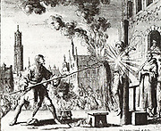 Henry Eemkens on July 10, 1562 in Utrecht burned, with a bag of gunpowder on his chest, it explodes. Hendrik Eemkens (Henrick Emken), an Anabaptist martyr, a native of Loquard in East Friesland, Germany, a tailor, was a simple man unable to read or write; but he defended his faith with amazing skill, clearness, and conviction against a monk sent to convert him. Eemkens was baptized by Joost Verbeeck in 1561. He was executed on 10 June 1562 at Utrecht. His death is described by van Braght, with an etching by Luiken. His wife Anna was baptized with him and was likewise captured and tortured; but nothing is known concerning her death.
