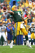 GREEN BAY, WI - SEPTEMBER 25:  Quarterback Brett Favre #4 of the Green Bay Packers unloads a long pass against the Tampa Bay Buccaneers at Lambeau Field on September 25, 2005 in Green Bay, Wisconsin. The Buccaneers defeated the Packers 17-16. ©Paul Anthony Spinelli *** Local Caption *** Brett Favre
