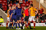 Christophe Berra of Hearts hold his head in his hands as Ben Garuccio of Hearts is shown the red card late on during the Ladbrokes Scottish Premiership match between Motherwell and Heart of Midlothian at Fir Park, Motherwell, Scotland on 17 February 2019.