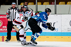 02.11.2012, Hostan Arena, Znojmo, CZE, EBEL, HC Orli Znojmo vs SAPA Fehervar, 18. Runde, im Bild Burke Henry (Znojmo #44) Andras Benk (Fehérvár #12) // during the Erste Bank Icehockey League 18nd round match betweeen HC Orli Znojmo and SAPA Fehervar at the Hostan Arena, Znojmo, Czech Republic on 2012/11/02. EXPA Pictures © 2012, PhotoCredit: EXPA/ Rostislav Pfeffer
