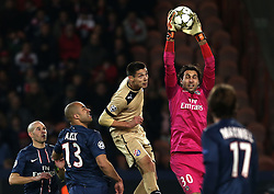 06.11.2012, Stade de Parc des Princes, Paris, FRA, UEFA CL, Paris St. Germain vs Dinamo Zagreb, Gruppe A, im Bild Ante Rukavina, Salvatore Sirigu, // during UEFA Championsleague group A Match between Paris St. Germain and Dinamo Zagreb at the Stade de Parc des Princes, Paris, France on 2012/11/06. EXPA Pictures © 2012, PhotoCredit: EXPA/ Pixsell/ Marko Lukunic..***** ATTENTION - OUT OF CRO, SRB, MAZ, BIH and POL *****