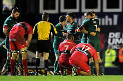 Leicester Tigers players celebrate at the final whistle - Photo mandatory by-line: Patrick Khachfe/JMP - Mobile: 07966 386802 07/12/2014 - SPORT - RUGBY UNION - Leicester - Welford Road - Leicester Tigers v Toulon - European Rugby Champions Cup