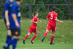 LIVERPOOL, ENGLAND - Friday, October 14, 2011: Liverpool's Adam Morgan celebrates scoring the first goal against Manchester United during the FA Premier League Academy match at the Kirkby Academy. (Pic by David Rawcliffe/Propaganda)