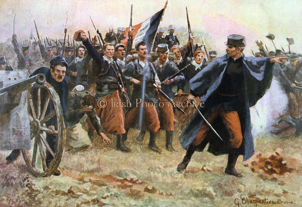 First World War 1914-1918. France 1914. Facing the Barbarians. Gaston Charpentier-Bosio, French painter. Officer leading Infantry and Light Artillery into battle.  Nationalism Jingoistic