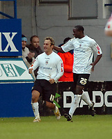 Photo: Kevin Poolman.<br />Luton Town v Queens Park Rangers. Coca Cola Championship. 11/11/2006. Ahmet Brkovic celebrates his goal and Luton's 2nd with Leon Barnett.