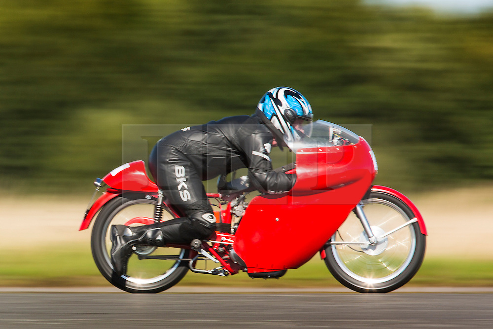© Licensed to London News Pictures. 19/09/2015. York, UK. Picture shows a competitor at the Starightliners speed weekend has taken place at Elvington Airfield near York today were a motorised shed, Jet car & motorbikes attempt new British speed records. Photo credit: Andrew McCaren/LNP