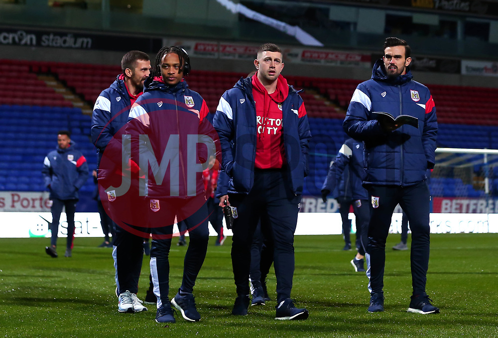 Bobby Reid, Frank Fielding and Marlon Pack of Bristol City arrive at the Macron Stadium ahead of the fixture with Bolton Wanderers - Mandatory by-line: Robbie Stephenson/JMP - 02/02/2018 - FOOTBALL - Macron Stadium - Bolton, England - Bolton Wanderers v Bristol City - Sky Bet Championship