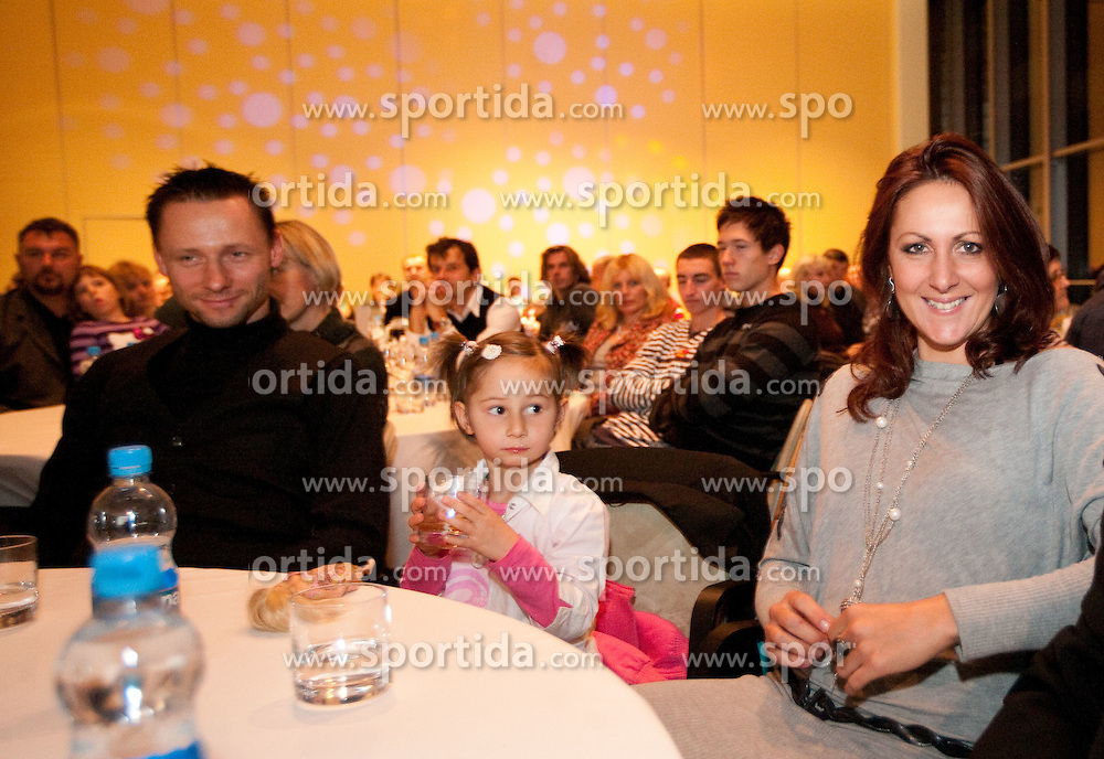 Alenka Bikar with her daughter Pika and husband Marjan Kern (L) during the Slovenia's Athlete of the year award ceremony by Slovenian Athletics Federation AZS, on November 12, 2008 in Hotel Mons, Ljubljana, Slovenia.(Photo By Vid Ponikvar / Sportida.com) , on November 12, 2010.