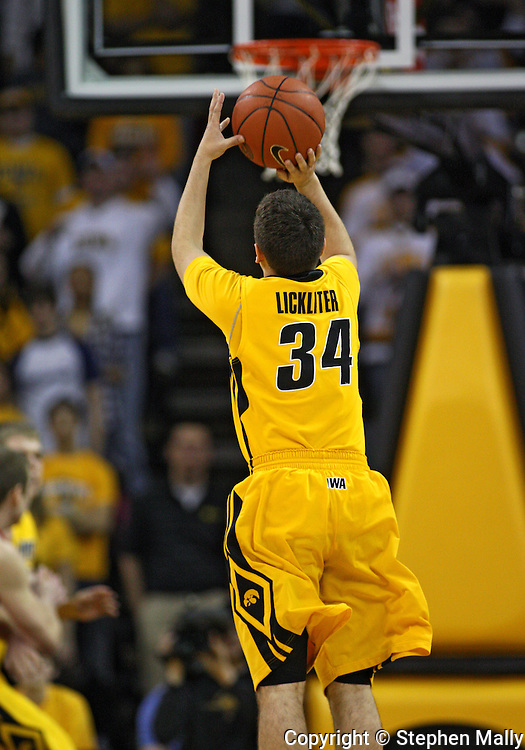 January 27, 2010: Iowa guard John Lickliter (34) puts up a shot during the first half of their game at Carver-Hawkeye Arena in Iowa City, Iowa on January 27, 2010. Ohio State defeated Iowa 65-57.
