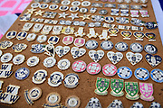 Badges on sale outside the Hillsborough Stadium before the EFL Sky Bet Championship match between Sheffield Wednesday and Brentford at Hillsborough, Sheffield, England on 7 December 2019.