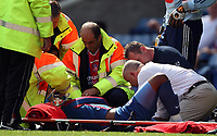 Palace star Stern John is given oxygen on the pitch before being stretchered off after dislocating his shoulder<br /> Coca Cola Chmpionship. Crystal Palace v Plymouth. 08.08.09<br /> Pic By Karl Winter Fotosports International