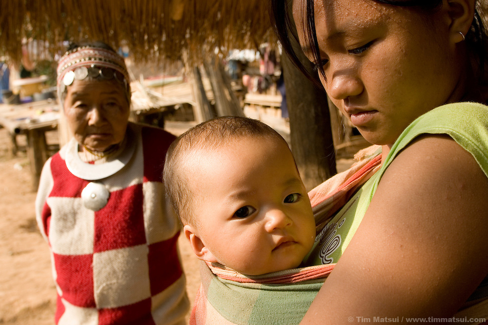 Life in the Akha hill tribe town of Senjai where human trafficking has been an issue. Even today, 40-50 children were trafficked in 2006 in the 50,000 person municipality Senjai is part of, according to past trafficking victim Ayee, a Senjai resident and advocate for women's and children's rights in the municipality. Ayee is a past resident and graduate of the nearbyl DEPDC in Mai Sai, northern Thailand. DEPDC is addressing the issue of human trafficking in northern Thailand by providing a safe place to live and study for youth who are at risk of being trafficked..