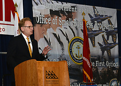 SAN DIEGO (Aug. 7, 2018) The Honorable Thomas B. Modly, Under Secretary of the Navy discusses the Secretary of the Navy's strategic priorities: people, capabilities and processes as the keynote speaker during the 2018 National Defense Industrial Association (NDIA) Navy Gold Coast Conference. This year marks the 30th annual NDIA San Diego Chapter event. NDIA Navy Gold Coast Conference provides a forum to educate, guide and assist businesses, especially small businesses, in working with the government. (U.S. Navy photo by Rick Naystatt/Released)180807-N-UN340-003