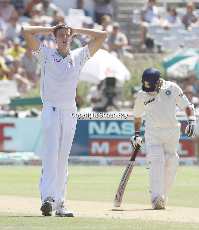CAPE TOWN, SOUTH AFRICA - 4 January 2011, Morne Morkel of South Africa reacts after a close call during day 3 of the 3rd Castle Test between South Africa and India held at Sahara Park Newlands Stadium in Cape Town, South Africa on the 4 January 2011 .Photo by: Shaun Roy