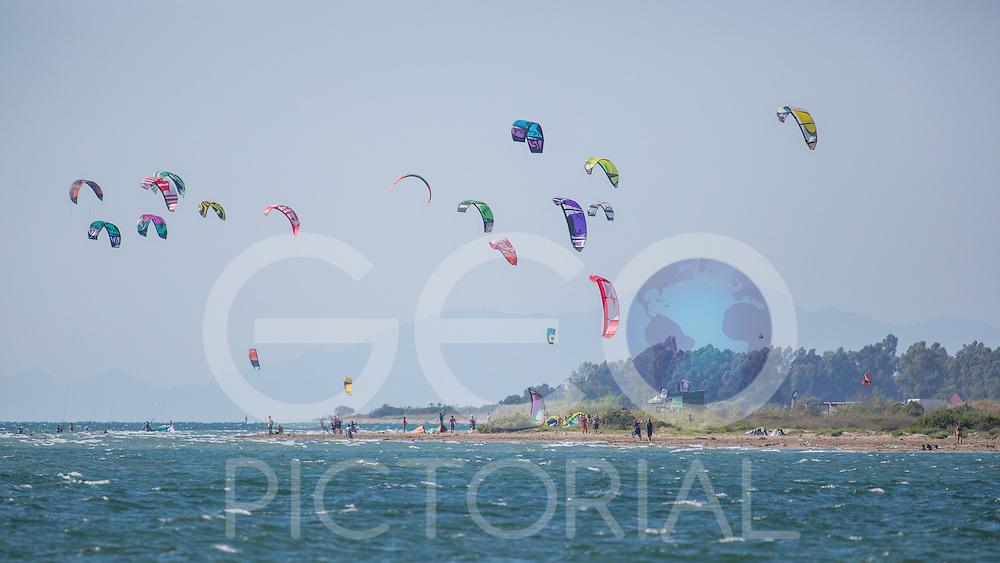 Kitesurfing at Aghios Nikolaos, Greece