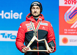 23.02.2019, Medal Plaza, Seefeld, AUT, FIS Weltmeisterschaften Ski Nordisch, Seefeld 2019, Skisprung, Herren, Siegerehrung, im Bild Bronzemedaillengewinner Killian Peier (SUI) // Bronce medalist Killian Peier of Switzerland during the winner Ceremony for the men's Skijumping HS130 competition of FIS Nordic Ski World Championships 2019 at the Medal Plaza in Seefeld, Austria on 2019/02/23. EXPA Pictures © 2019, PhotoCredit: EXPA/ Stefan Adelsberger