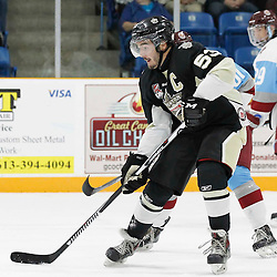 TRENTON, ON - SEP 23:  Josh Allan #53 of the Trenton Golden Hawks takes the pass during the OJHL regular season game between the  Pickering Panthers and Trenton Golden Hawks on September 23, 2016 in Trenton, Ontario. (Photo by Amy Deroche/OJHL Images)