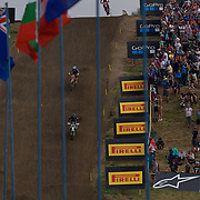 Anstie leads Cairoli and Gajser down the notorious downhill of Loket.