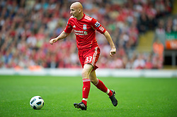 LIVERPOOL, ENGLAND - Saturday, April 23, 2011: Liverpool's Jonjo Shelvey in action against Birmingham City during the Premiership match at Anfield. (Photo by David Rawcliffe/Propaganda)