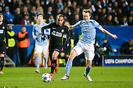 25.11.2015. Malm&ouml;, Sweden. <br /> Lucas (L) of Paris in action with Magnus Wolff Eikrem        (R) of Malm&ouml; FF during their UEFA Champions League match.<br /> Photo: &copy; Ricardo Ramirez.