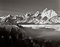 BW01913-00...WYOMING - The Teton Range viewed fron Snake River View Point in Grand Teton National Park. This is an Ilford Delta 100 4x5 film image.