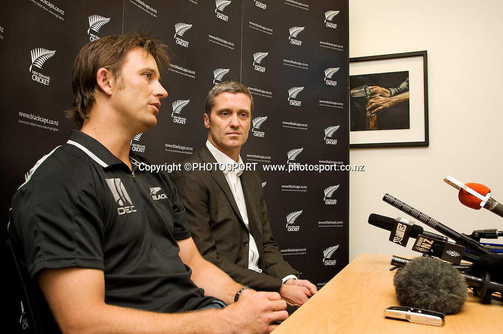 Shane Bond and Justin Vaughan during the press conference to announce Shane Bond's retirement from all cricket. New Zealand Cricket, at Christchurch International Airport, Christchurch, Monday 14 May 2010. Photo : Joseph Johnson/PHOTOSPORT