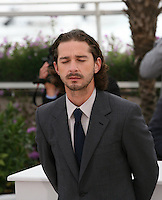 Shia Labeouf with his eyes closed at the Lawless film photocall at the 65th Cannes Film Festival. The screenplay for the film Lawless was written by Nick Cave and Directed by John Hillcoat. Saturday 19th May 2012 in Cannes Film Festival, France.