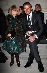David Beckham and Anna Wintour in the front row at the Victoria Beckham  show at New York Fashion Week .AW 2012, Sunday , February 12th 2012.  Photo by: Stephen Lock / i-Images