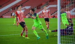 SOUTHAMPTON, ENGLAND - Monday, April 10, 2017: Liverpool's captain Harry Wilson celebrates scoring the second goal against Southampton to equalise the score at 2-2 during FA Premier League 2 Division 1 Under-23 match at St.Mary's Stadium. (Pic by David Rawcliffe/Propaganda)