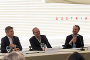 56th Art Biennale in Venice - All The World's Futures.<br /> Giardini.<br /> Austrian pavilion. Opening.<br /> From l.: Josef Ostermayer, Austrian Minister for Arts and Culture, Heimo Sobering, artist; Yilmaz Dziewior, Commissioner.