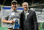 Ryan Brown poses for a picture with Ohio University President Duane Nellis during the 2018 Student Research Expo.