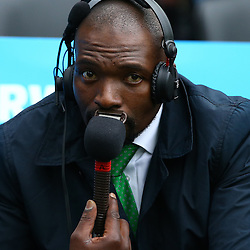 LONDON, ENGLAND - OCTOBER 07: Owen Nkumane Supersport rugby commentator during the Rugby World Cup 2015 Pool B match between South Africa and United States of America at The Stadium, Queen Elizabeth Olympic Park on October 07, 2015 in London, England. (Photo by Steve Haag/Gallo Images)