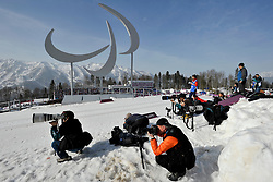 Photographers at the Nordic Skiing XC Long Distance at the 2014 Sochi Winter Paralympic Games, Russia