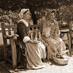 Ladies tell stories of the Revolutionary War in Philadelphia, PA.