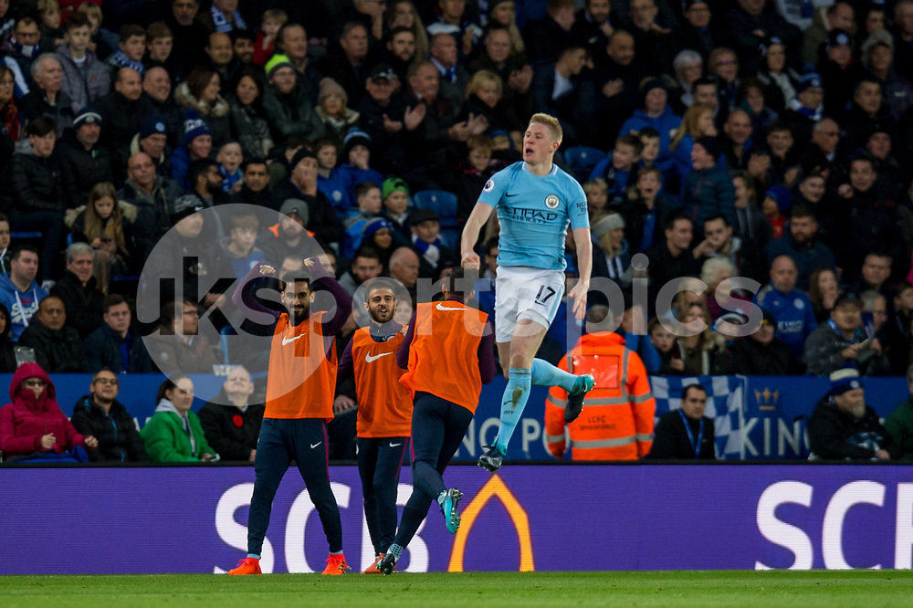 Kevin De Bruyne of Manchester City celebrates scoring a goal during the Premier League match between Leicester City and Manchester City at the King Power Stadium, Leicester, England on 18 November 2017. Photo by Matthew Buchan.
