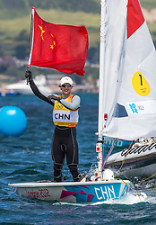 06.08.2012, Bucht von Weymouth, GBR, Olympia 2012, Segeln, im Bild GOLD.Xu Lijia, (CHN, Laser Radial). // during Sailing, at the 2012 Summer Olympics at Bay of Weymouth, United Kingdom on 2012/08/06. EXPA Pictures © 2012, PhotoCredit: EXPA/ Daniel Forster ***** ATTENTION for AUT, CRO, GER, FIN, NOR, NED, POL, SLO and SWE ONLY!